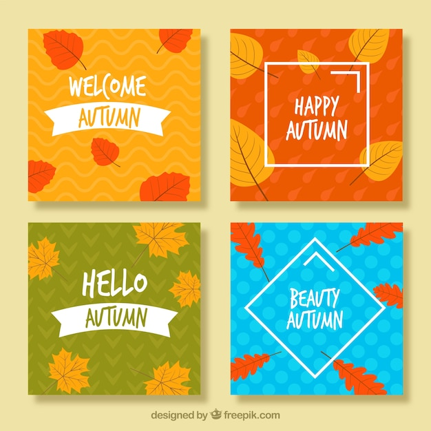Hand drawn autumn cards with modern design
