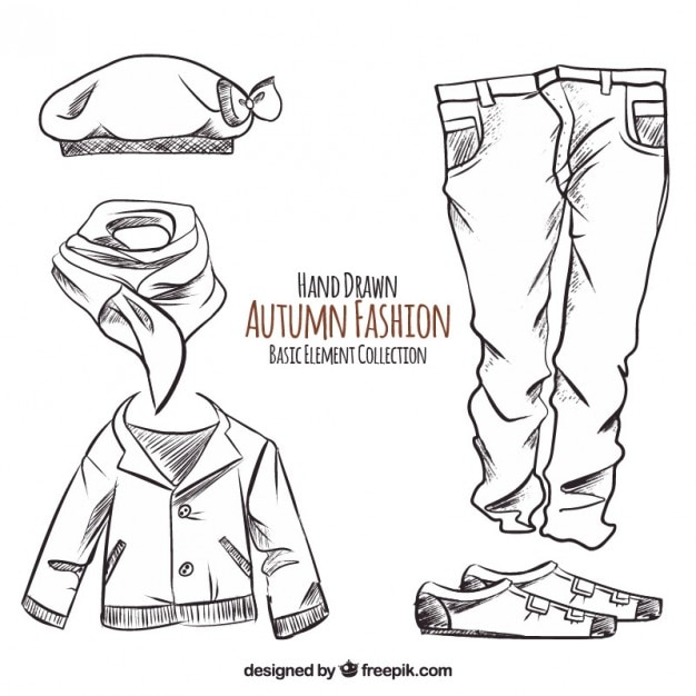 Hand-drawn autumn clothes Free Vector