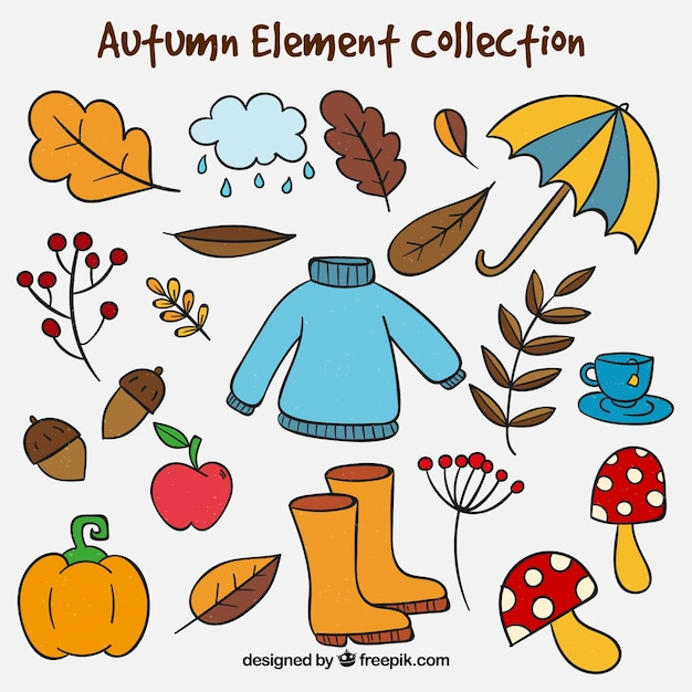 Hand drawn autumn elements collection Free Vector