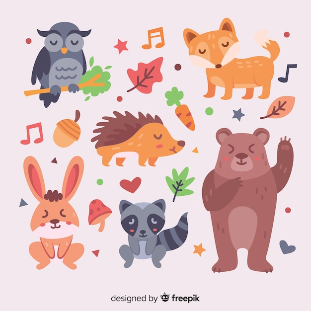 Hand drawn autumn forest animal collection Free Vector