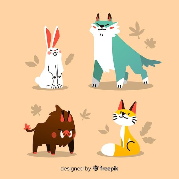 Коллекция рисованной осенний лес животных Бесплатные векторы