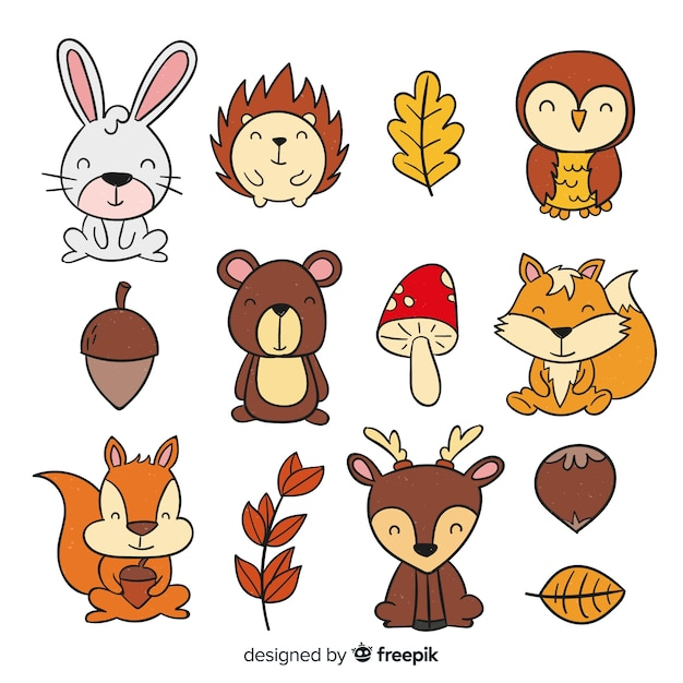 Hand drawn autumn forest animals collection Premium Vector
