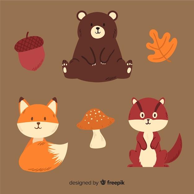 Коллекция рисованной животных осеннего леса Premium векторы