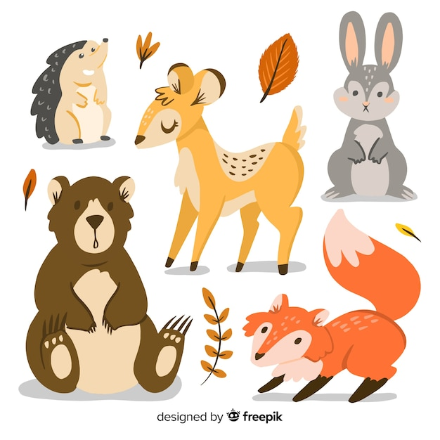 Hand drawn autumn forest animals collection Premium Vector