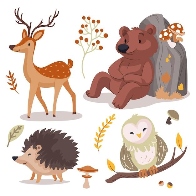 手描きの秋の森の動物コレクション 無料ベクター