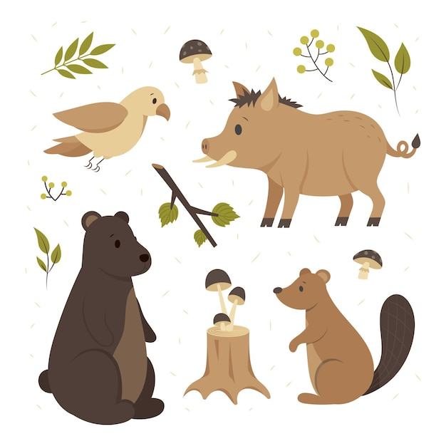 Hand drawn autumn forest animals pack Free Vector