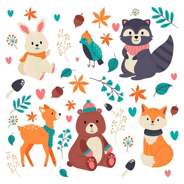 手描きの秋の森の動物 Premiumベクター