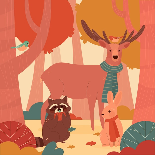 手描きの秋の森の動物 無料ベクター