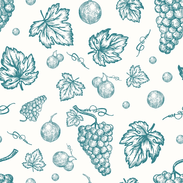 Hand drawn autumn grapes harvest  seamless Free Vector