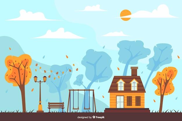 手描き秋の家の背景 無料ベクター