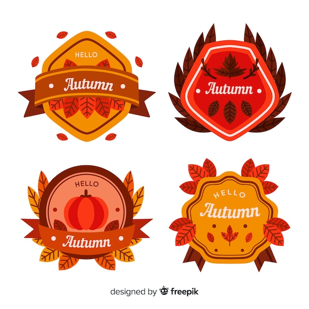 Hand drawn autumn label collection Free Vector