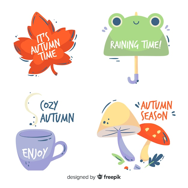 Hand drawn autumn labelcollection Free Vector