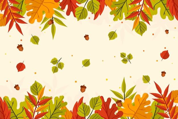 Ручной обращается осенние листья фон с разноцветными листьями Бесплатные векторы