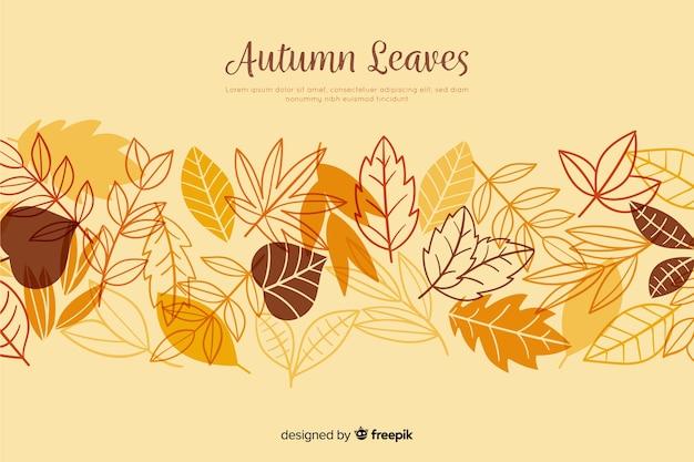 Рисованной осенние листья фон Premium векторы