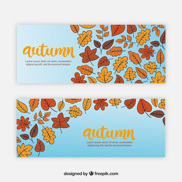 Hand drawn autumn leaves banners