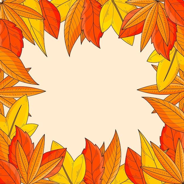 손으로 그린 가을 나뭇잎 프레임 배경 무료 벡터