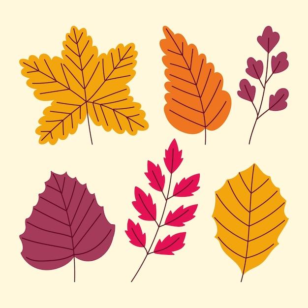 Набор рисованной осенних листьев Бесплатные векторы