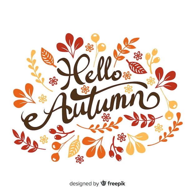 Hand drawn autumn lettering background Free Vector