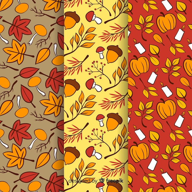 Hand drawn autumn pattern collection Free Vector