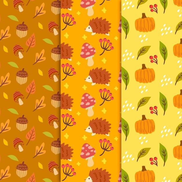 手描きのカボチャと葉の秋のパターン 無料ベクター