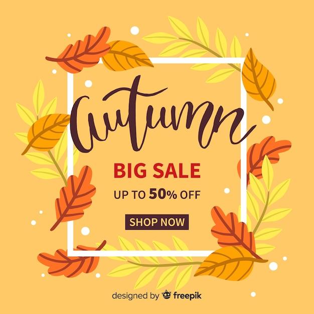 Hand drawn autumn sale background Free Vector