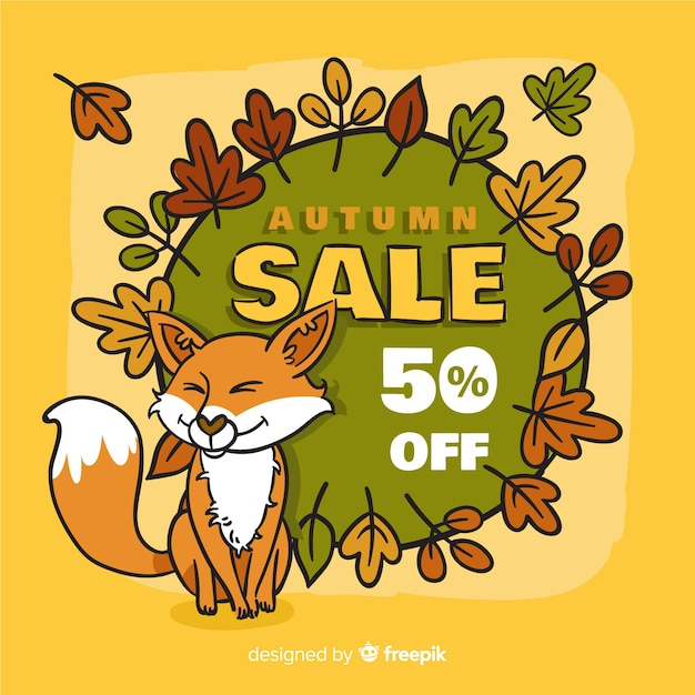 Hand drawn autumn sale background Free Vector