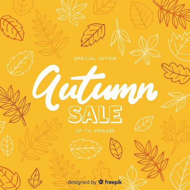Hand drawn autumn sale background Premium Vector