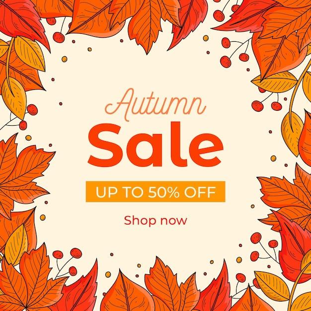 Hand drawn autumn sale banner Free Vector