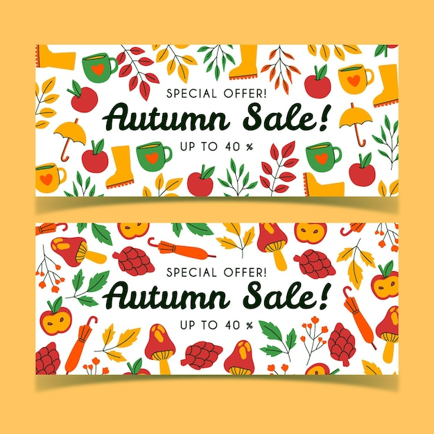 Hand drawn autumn sale banners collection Free Vector