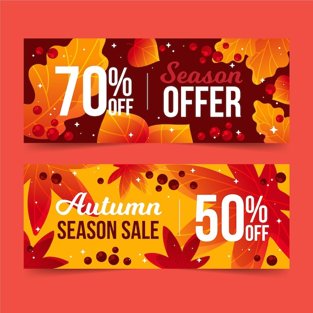Hand drawn autumn sale banners pack Free Vector