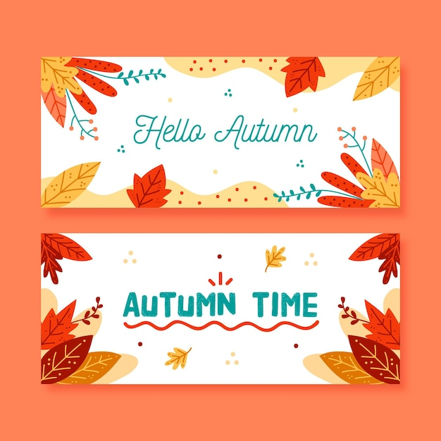 Hand drawn autumn sale banners template Free Vector