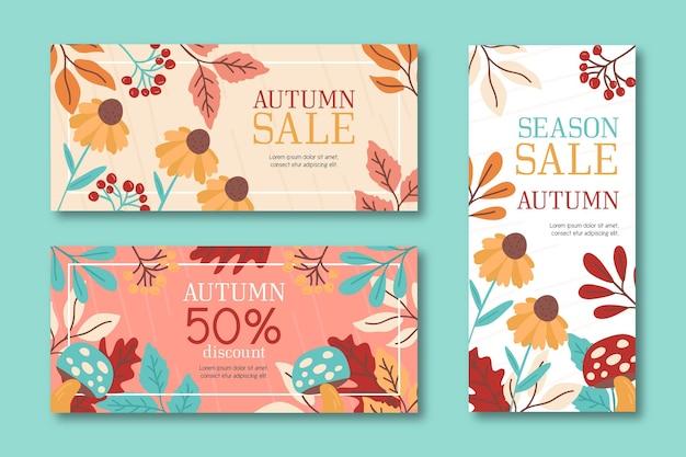 Hand drawn autumn sale banners Premium Vector
