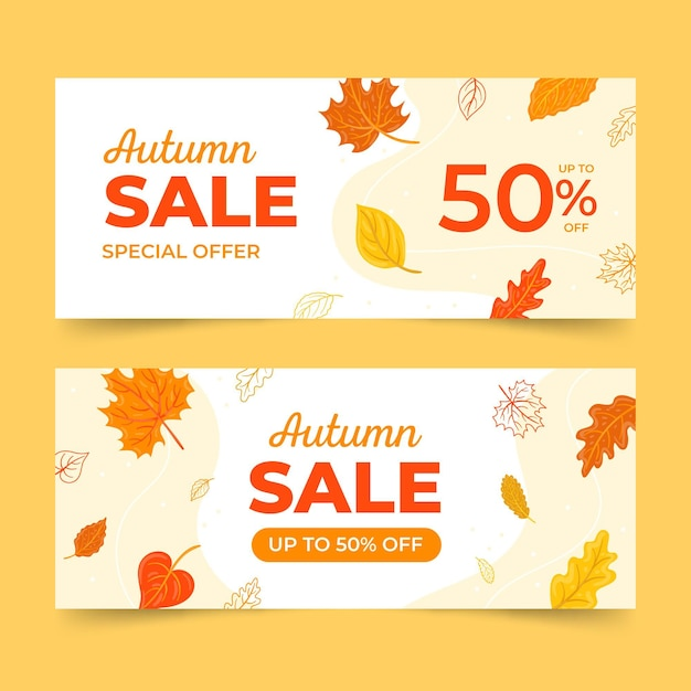 Hand drawn autumn sale banners Free Vector