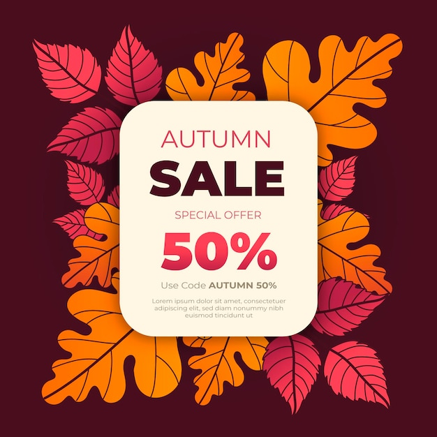 Hand drawn autumn sale illustration with special discount Free Vector