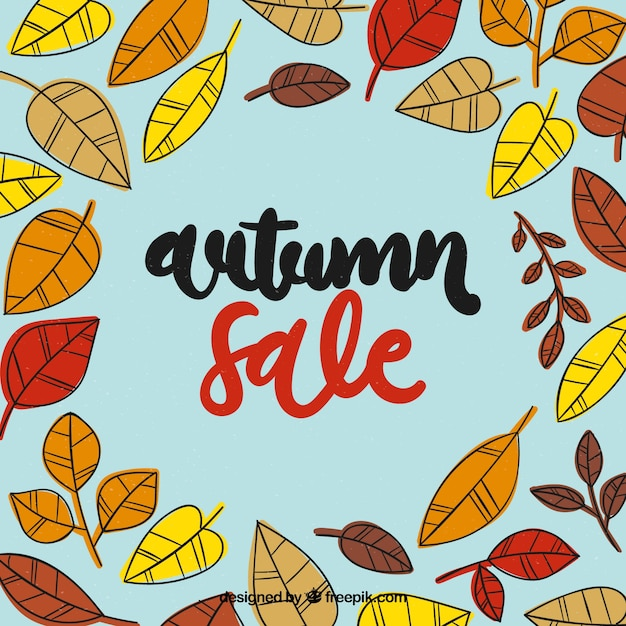 Hand drawn autumn sale with fun style