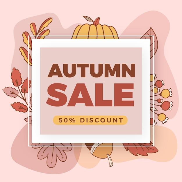 Hand drawn autumn sale Free Vector