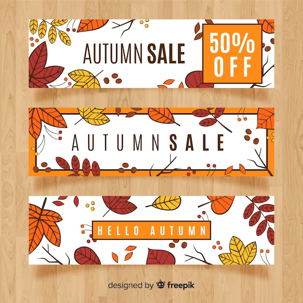 Hand drawn autumn sales banner Free Vector