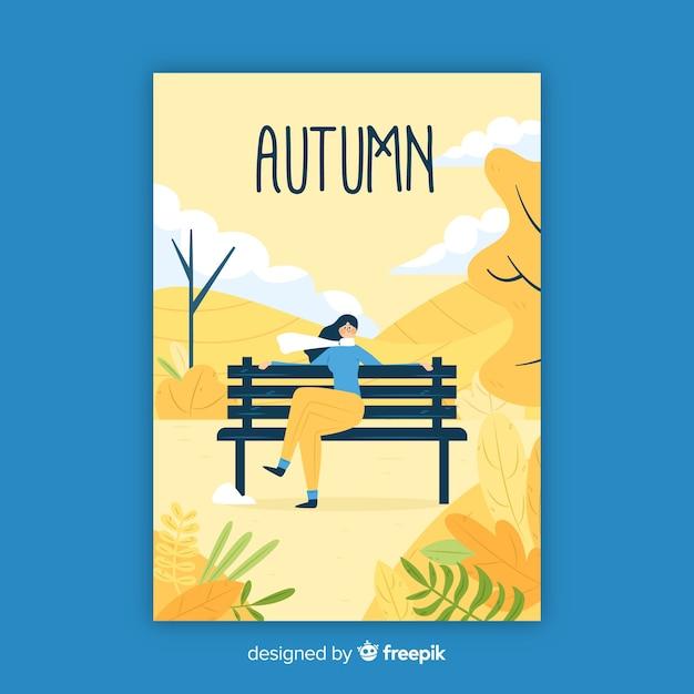 Hand drawn autumn seasonal poster Free Vector