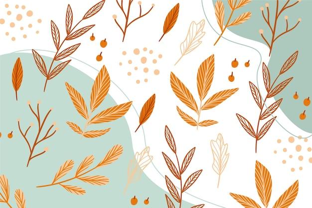 葉と手描きの秋の壁紙 無料ベクター