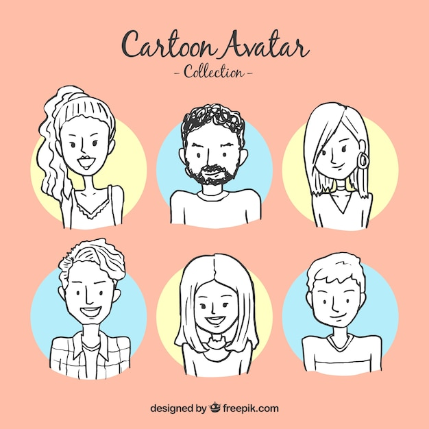 Hand drawn avatar collection Free Vector