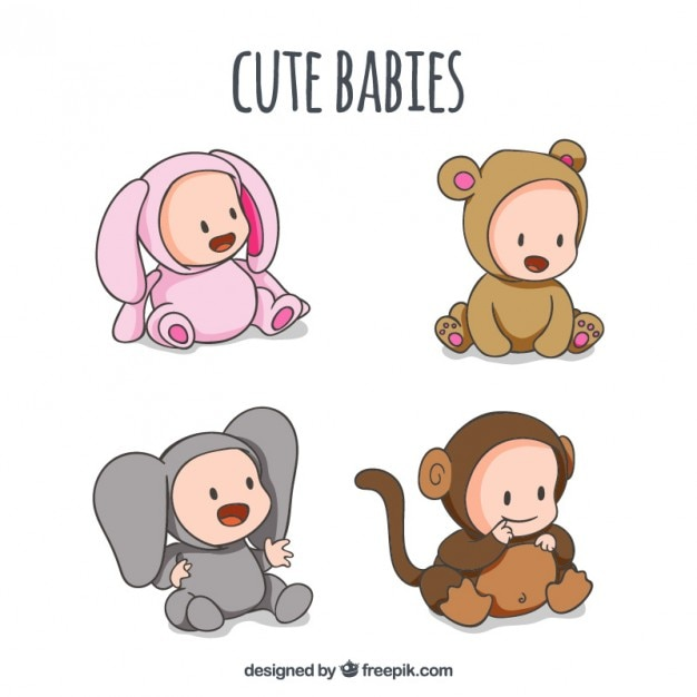 Hand drawn babies with lovely animal\ customes