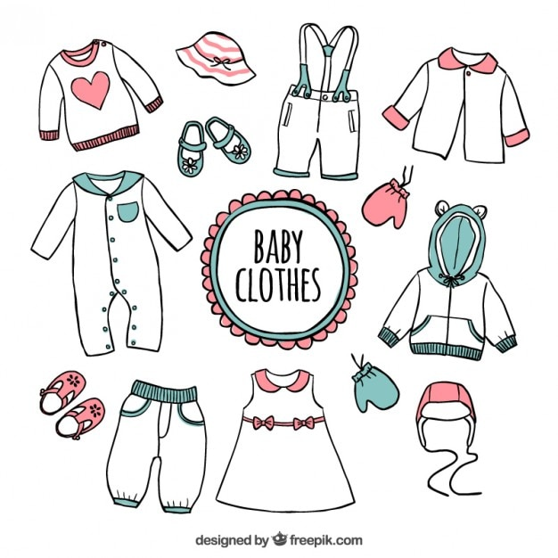 6432e42f5 Hand drawn baby clothes Vector