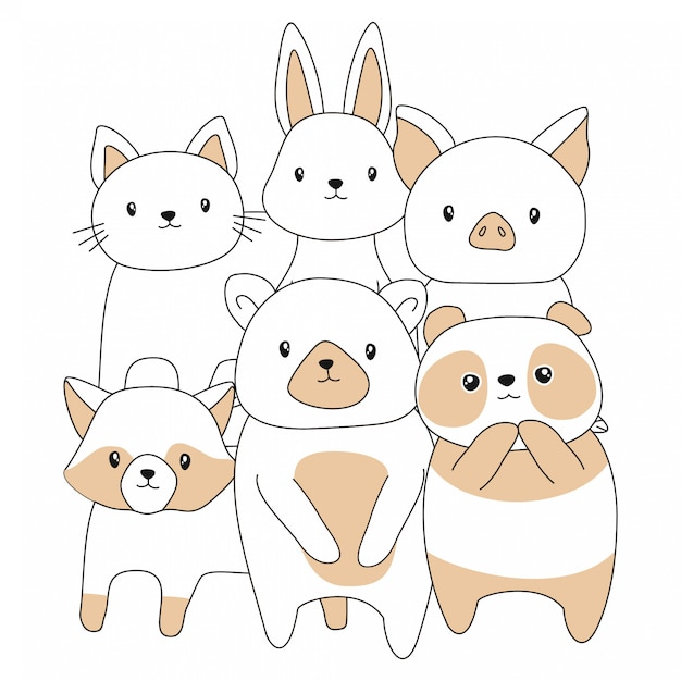 Hand drawn baby cute animals cartoon Premium Vector