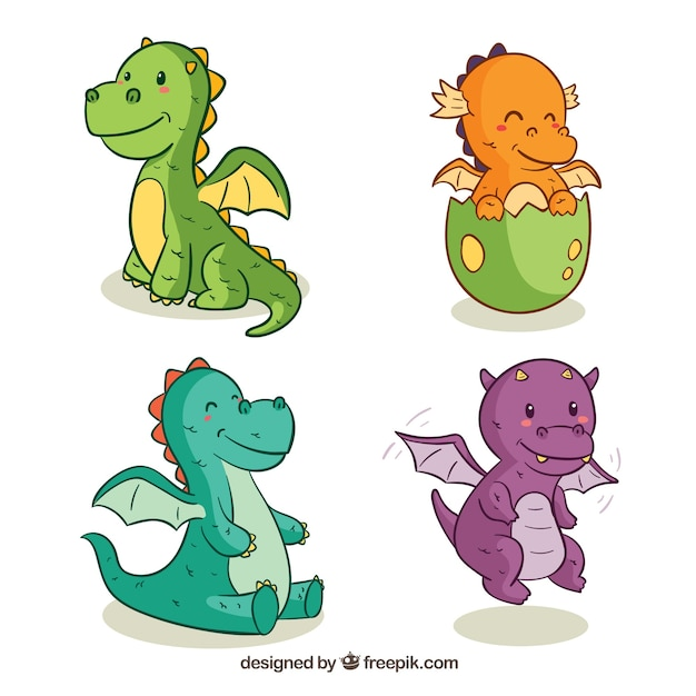 Hand drawn baby dragon character collectio Free Vector