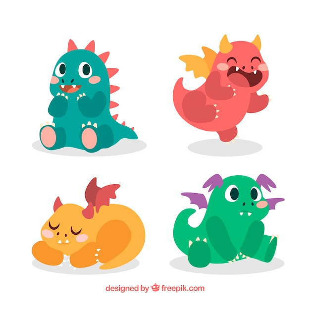 Hand drawn baby dragon character collection Free Vector