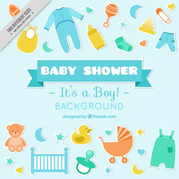 hand drawn baby shower elements background vector free download