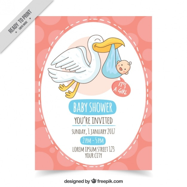 Hand-drawn baby shower invitation with stork and baby Free Vector