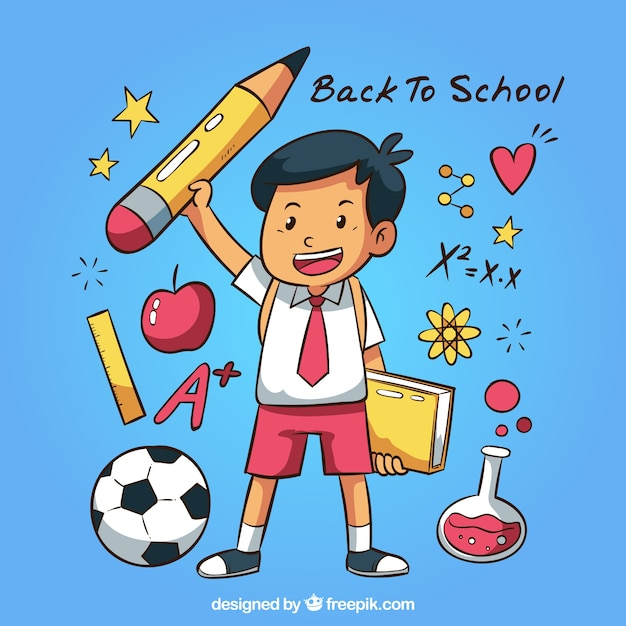 Hand drawn back to school background with boy Free Vector
