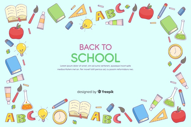 Hand drawn back to school background Free Vector