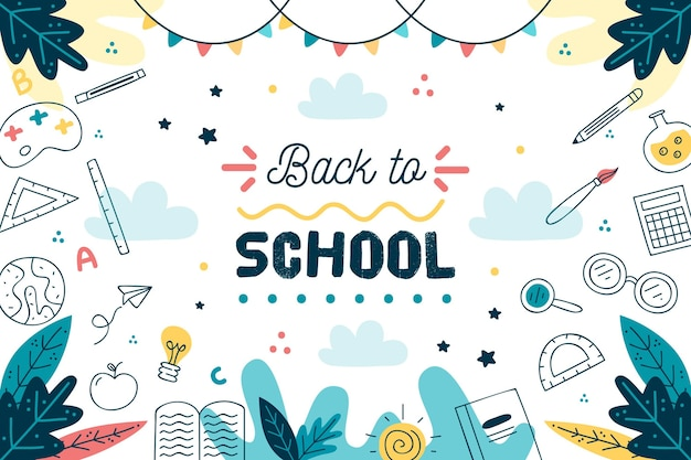 Hand drawn back to school background Premium Vector